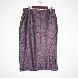 Express Metallic Body Con Pencil Skirt